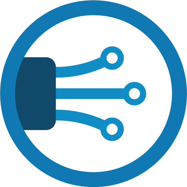 Blue icon of fiber cables