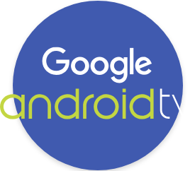 Logo of Google Android TV on a purple circle
