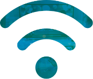 Icon of WiFi symbol in blue