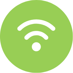 White WiFi icon on green circle